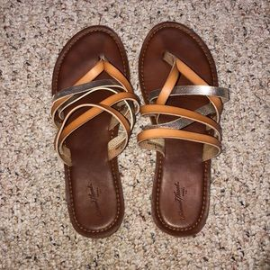 brown and gold slip on strappy sandals